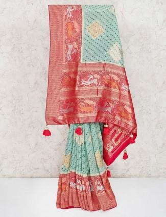 Printed design pista green bandhej saree