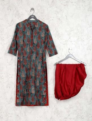 Printed green color cotton fabric kurti set