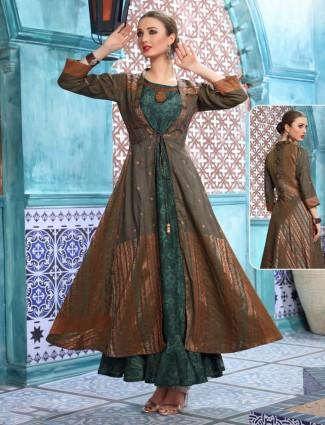 Printed green cotton silk anarkali kurti tunic