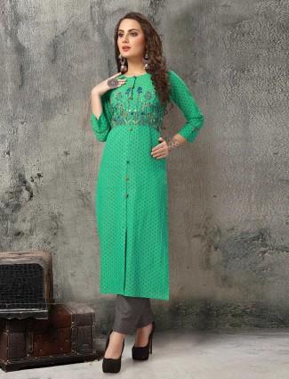 Printed green festive kurti set