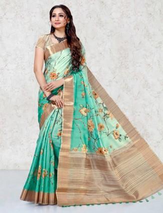 Printed green festive saree