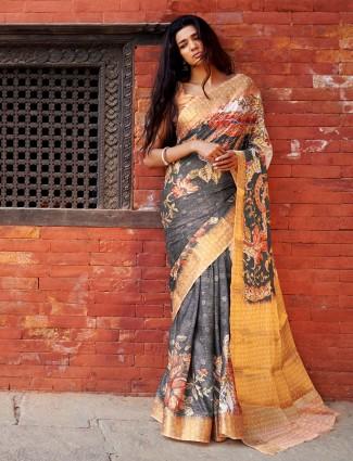 Printed grey color cotton silk saree for festive occasion
