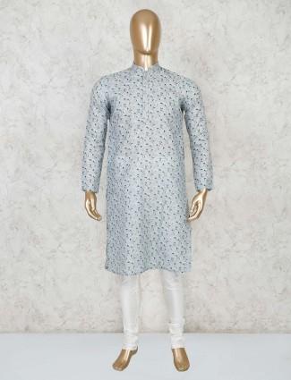Printed grey cotton festive kurta suit