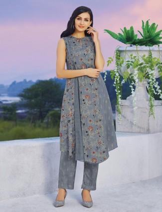 Printed grey designer kurti set