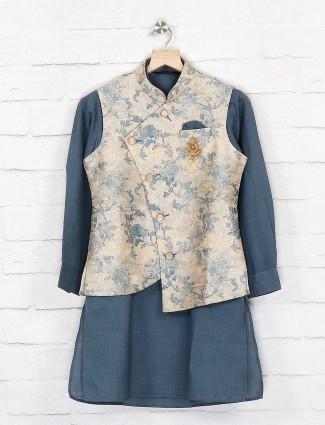 Printed grey hue terry rayon waistcoat set