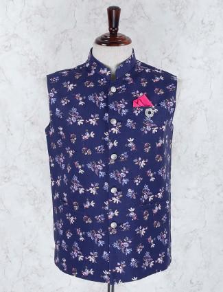 Printed hue navy color terry rayon waistcoat