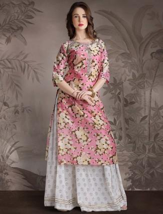 Printed lehenga cum salwar suit in pink