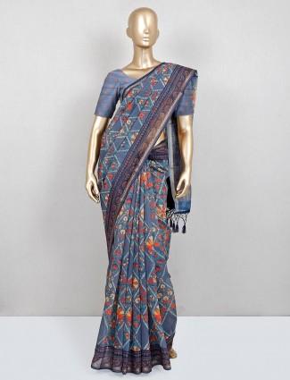Printed light grey cotton festive wear saree