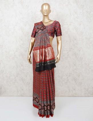 Printed maroon cotton saree