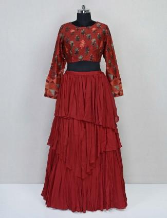 Printed maroon georgette lehenga style salwar suit