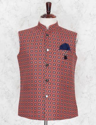 Printed maroon hued terry rayon waistcoat