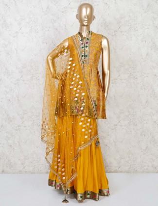 Printed mustard yellow cotton silk sharara suit