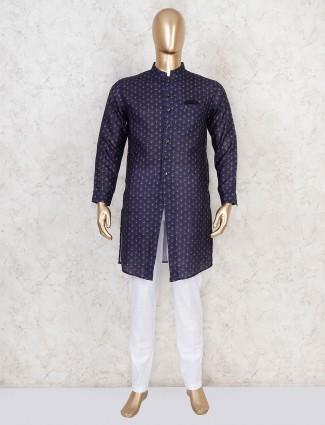 Printed navy cotton festive kurta suit