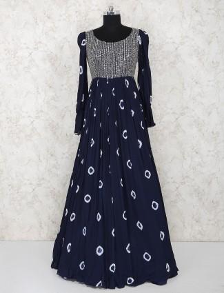 Printed navy hue floor length georgette salwar suit