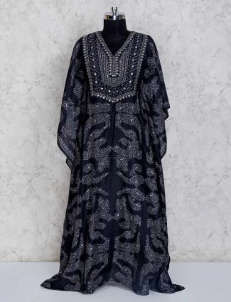 Printed navy satin floor length salwar suit