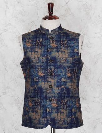 Printed navy terry rayon fabric waistcoat