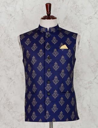 Printed navy terry rayon waistcoat