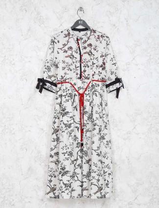 Printed off white cotton fabric kurti