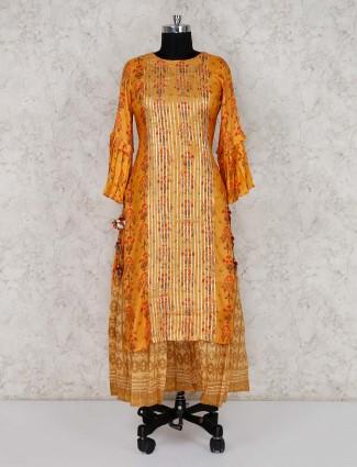 Printed orange double layer kurti in cotton silk