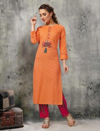 Printed orange embroidered kurti set