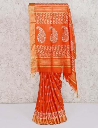 Printed orange saree in bagalpuri silk
