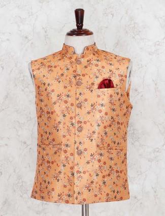 Printed orange wedding wear men waistcoat