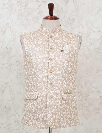 Printed peach corron party waistcoat