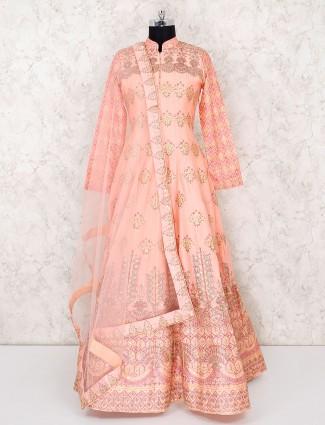 Printed peach designer anarkali salwar suit in cotton silk