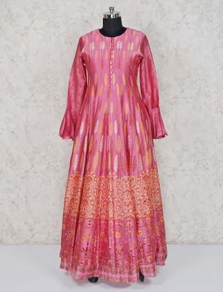 Printed pink anarkali suit in cotton silk