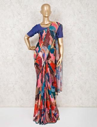 Printed pink georgette sari