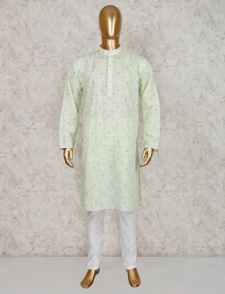Printed pista green cotton kurta suit