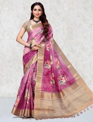 Printed purple pretty saree in mulberry silk