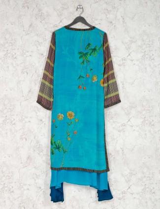 Printed rama green georgette kurti