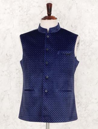 Printed royal blue hue mens waistcoat