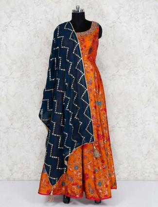 Printed rust orange floor length anarkali salwar suit