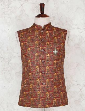 Printed rust orange terry rayon waistcoat