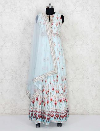 Printed sky blue cotton silk anarkali salwar suit