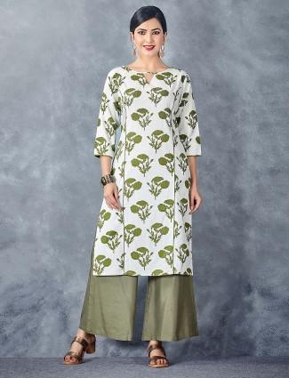 Printed white color cotton kurti set
