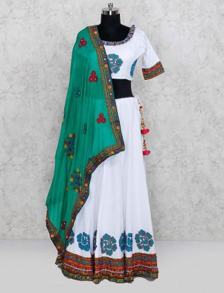 Printed white color festive wear cotton lehenga choli