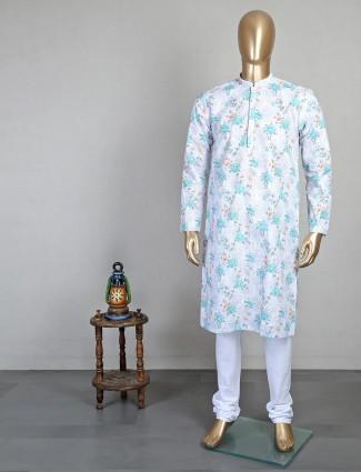 Printed white cotton mens kurta suit