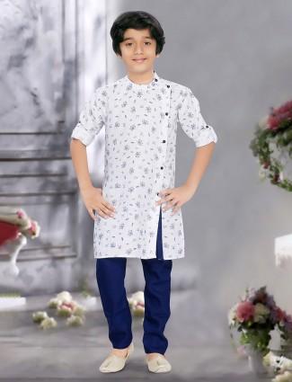 Printed white hue cotton fabric sober kurta suit