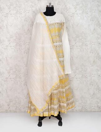 Printed yellow color cotton long salwar suit