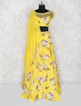 Printed yellow colored cotton silk lehenga choli