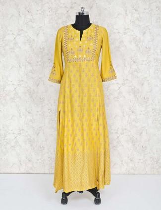 Printed yellow cotton salwar suit