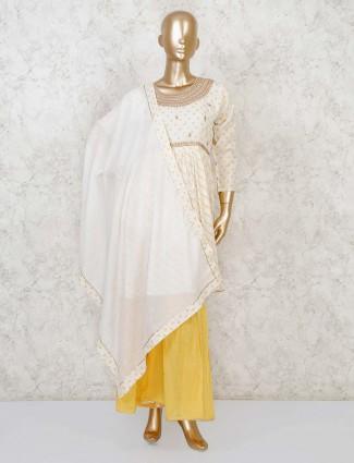 Printed yellow punjabi sharara suit in cotton