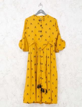 Printed yellow simple kurti