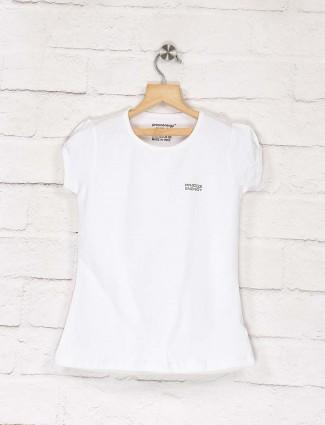 Pro Energy white color cotton round neck top