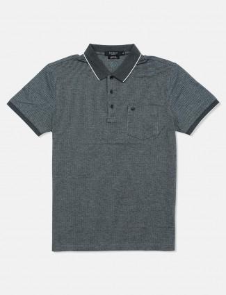 Psoulz dark grey stripe cotton polo t-shirt