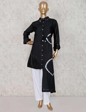 Punjabi black and white color pant suit