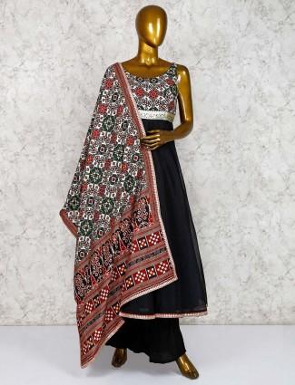 Punjabi festive wear palazzo suit in black